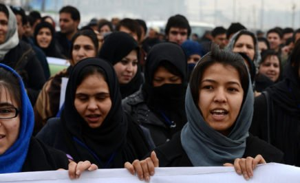Protesters call for an end to violence against women in Afghanistan. © AFP / SHAH MARAI