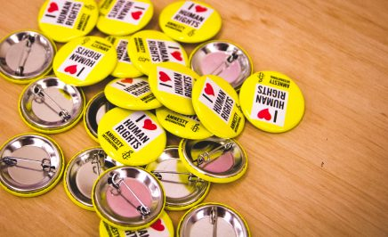 Amnesty International I love human rights buttons