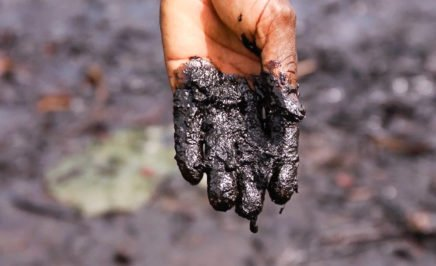 Pastor Christian Lekoya Kpandei's hand covered in oily mud, Bodo Creek, Nigeria, 2011