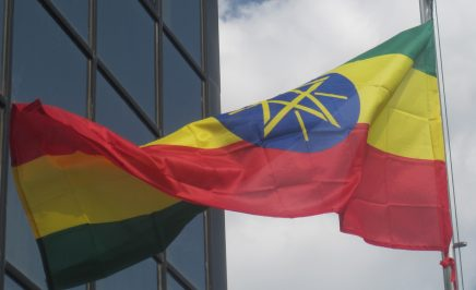 Photograph of the Ethiopian flag flying outside an unidentified official building in the country