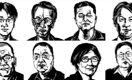 Illustrations of eight lawyers who were detained or went missing in July 2015 as part of a nationwide crackdown in China