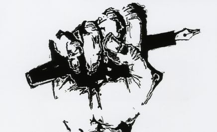Pen and ink drawing showing a hand shaped into a fist holding a fountain pen