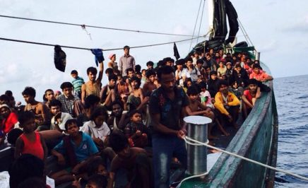 A boat crammed with 350 people drifting off the coast of Thailand and Malaysia
