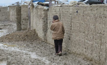A child in a settlement for internally displaced people in Kabul, Afghanistan.