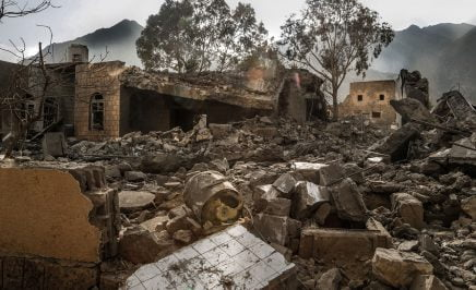 The remains of an MSF supported hospital bombed by the Saudi Arabia-led coalition in Haydan in Sa'da.