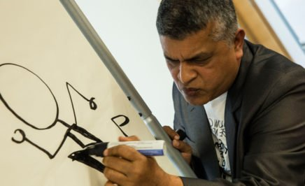 Malaysian cartoonist Zunar giving an illustration workshop at Amnesty International head office
