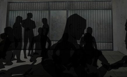 illustrations of Saydnaya Military Prison, Damascus, Syria showing shadowy dfigures in front of grey bars and walls