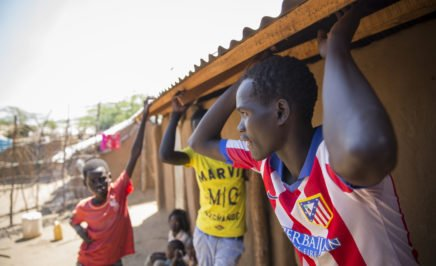 The family of Rose Nathike Lokonyen, 23, from South Sudan, who is competing in the 800 metres at the Rio 2016 Olympic games, as part of Team Refugees. Kakuma Refugee camp, Northern Kenya.