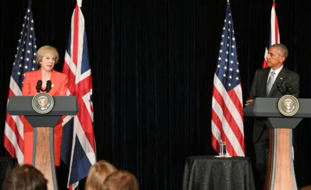 Theresa May and Barack Obama holding a joint press conference at the G20 in Hangzhou, China, 2016.