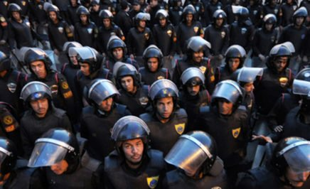 Egyptian police standing in formation