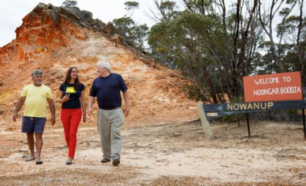 Eugene Eades with Amnesty campaigners Tammy and Rodney at the Nowanup camp.