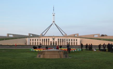 A protest display on the lawns of Parliament House Canberra for Indigenous rights