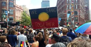 A rally for Indigenous rights on Invasion Day