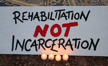 Sign calling for rehabilitation not incarceration at Don Dale vigil.