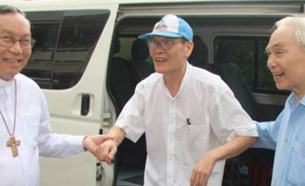 Father Nguyen Van Ly on the day of his release from prison