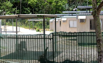 Fenced area with makeshift houses at the Phosphate Hill detention centre on Christmas Island, where children and families are detained