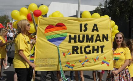 New Zealand supporters take part in Auckland's Pride Parade. 16 February 2013, Auckland, New Zealand. Amnesty International believes that all people, regardless of their sexual orientation or gender identity, should be able to enjoy the full range of human rights, without exception. By highlighting instances of abuse against Lesbian, Gay, Bisexual, Transgender or Intersex (LGBTI) individuals around the world, by taking part in events such as Pride Parade, Amnesty hopes to protect the dignity of all LGBTI people. Because Love is a Human Right!