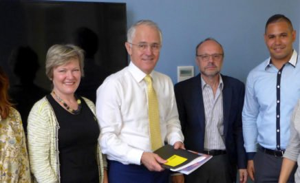 Amnesty's Eastern Suburbs local group in a meeting with Prime Minister Malcolm Turnbull. © Private