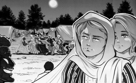 Illustration of Greece – Refugee women coping with fear and violence in the camps
