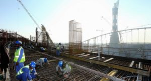 Construction workers on Khalifa International Stadium