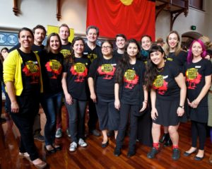 Amnesty volunteers and staff at the launch of the Community is Everything campaign and report on high rates of detention of indigenous youth in Australia. © AI/Richard Wainwright