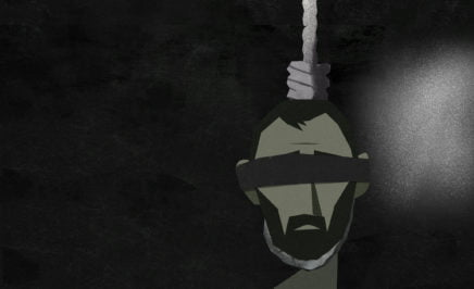 Illustration showing the face of a blindfolded, bearded man hanged by a noose