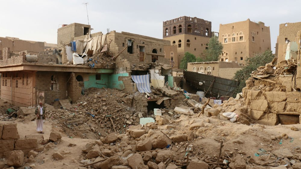 The rubble of houses destroyed by bombing in Sa'da, Yemen