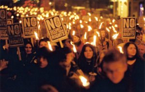 Nobel Peace Prize demonstration in Oslo, Norway, 10 December 2001. 1200 -1300 people gathered in Youngstorget, a square in the centre of Oslo. 1992 Nobel laureate Rigoberta Menchu, 1996 Nobel laureate Ramos-Hortas as well as former UN Special Adviser for Colombia Jan Egeland held appeals. The demonstration went on to the Grand Hotel in order to honour this years Nobel Laurate Kofi Annan. The slogans of the demonstration were 'United for peace and human rights' and 'No security without human rights'.