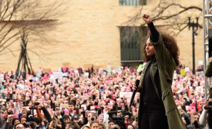 Alicia Keys speaks onstage at the rally at the Women's March on Washington