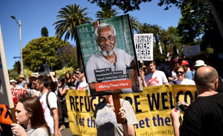 People march to demand humane treatment of asylum seekers and refugees.