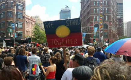 People gather in Sydney to support Indigenous rights and acknowledge Invasion Day. Sydney, 26 January 2016.