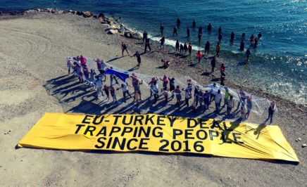 Activists and refugees come together to demand action from EU leaders in the greek island of Lesbos.