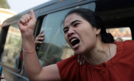 One of the Boeung Kak Lake (BKL) activists as they are taken to the appeal court. © LICADHO