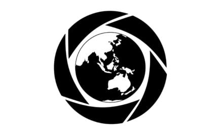 A black and white logo on a white background for the Amnesty 2017 Media Awards. The logo consists of a black and white image of a globe.