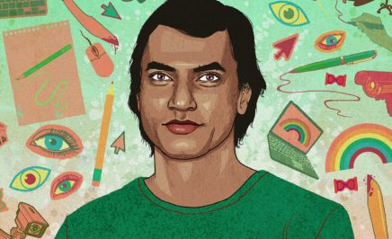 A cartoon drawing of Xulhaz Mannan, an LGBTQI rights defender, by Rebecca Hendin