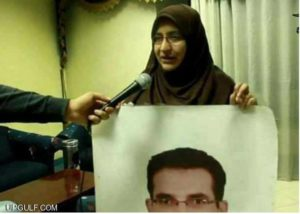 Hanan Badr el-Din giving an interview about her missing husband.