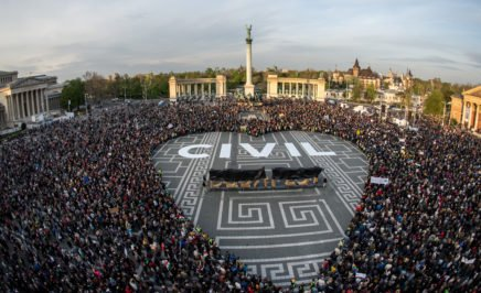 HUNGARY: Hundreds of activists gathered in solidarity during a protest in Budapest.