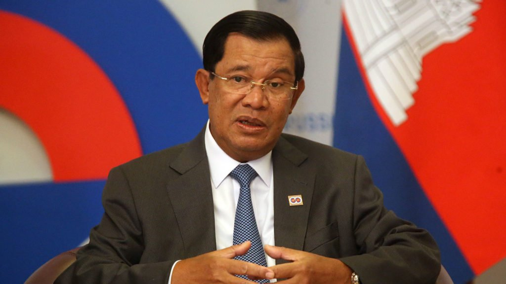 Cambodia's Prime Minister Hun Sen attends a meeting with Russian President Vladimir Putin at Bocharov Ruchey State Residence on May 19, 2016 in Sochi, Russia.