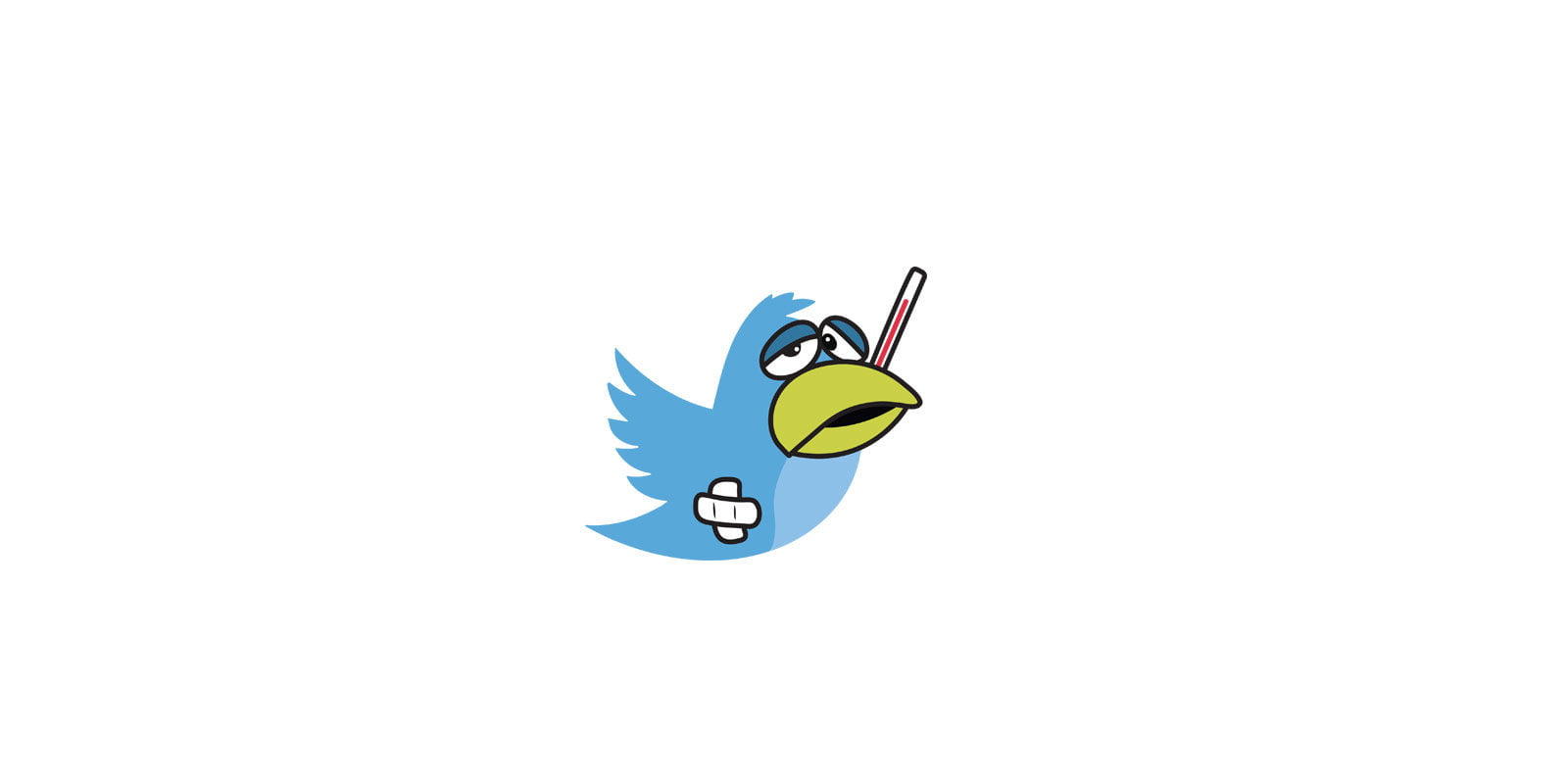 A cartoon of the blue Twitter bird looking sick, with a thermometer sticking out of it's mouth.