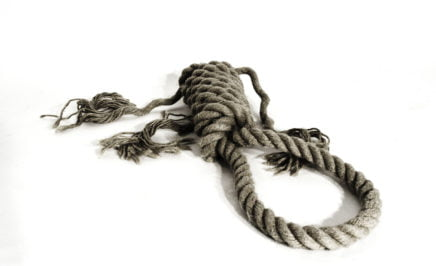 A hangman's noose on a white background