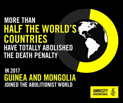 Infographic about countries that have abolished the death penalty (Gambia and Mongolia)