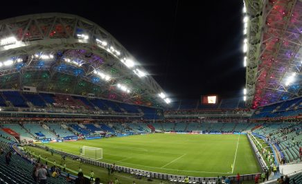 A panoramic view of the interior of Fisht Olympic Stadium in Sochia, Russia.
