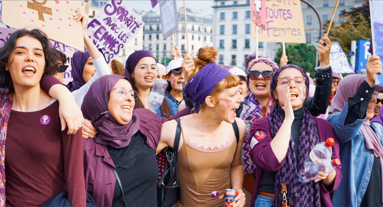 Members of 'Les Foulards Violets' (The Purple Scarves), a collective of Muslim and and non-Muslim women who stand in solidarity with those who wear the headscarf, at a protest in Geneva, Switzerland.