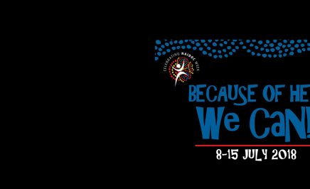 2018 NAIDOC logo with the words: 'Because of her, we can. 8–15 July 2018'.