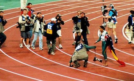 Cathy Freeman with the press at the 1994 Commonwealth Games in Canada