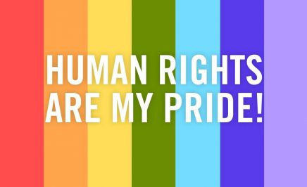 text human rights are my pride over rainbow coloured strips with amnesty candle logo below