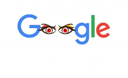 The Google logo adapted so that the two 'O's in the middle resemble evil red eyes.