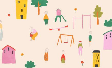 A still from an animation showing a playground with swings, trees and a see saw. Hand drawing style
