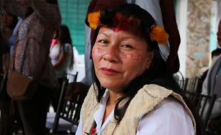 A woman with dark hair and a traditional headress smiles into the camera