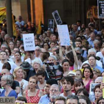 A crowd gathers in Sydney to protest the treatment of refugees and asylum seekers, February 2016.